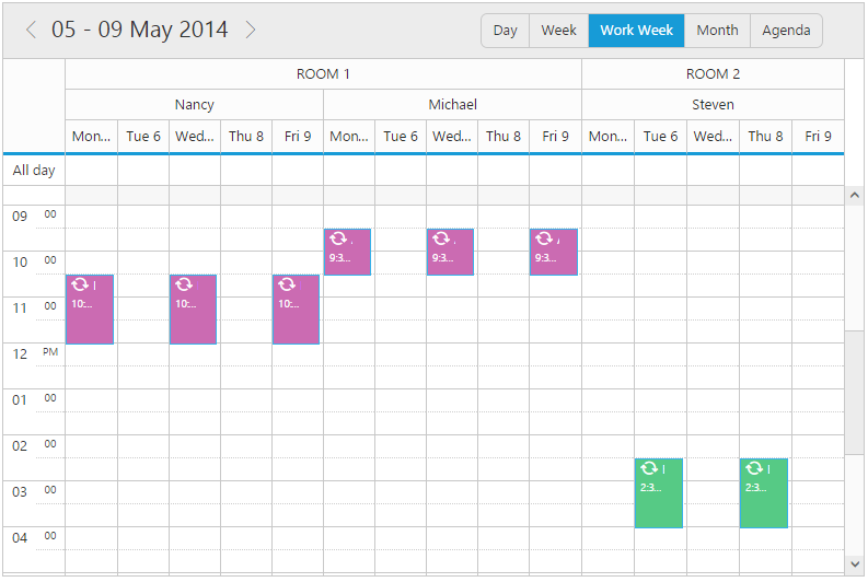 Multiple Resources with Grouping feature in jQuery Scheduler/Event calendar
