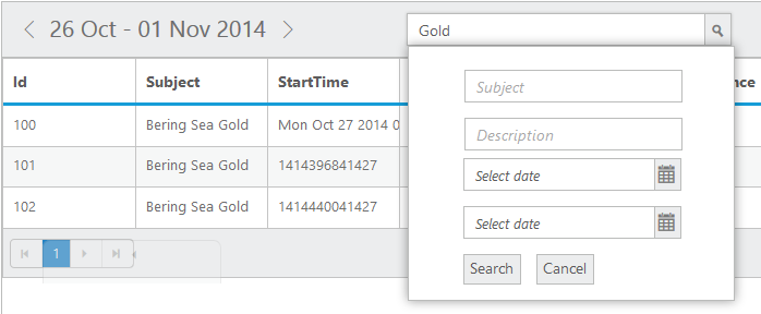 Appointment Search feature in jQuery Scheduler/Event calendar