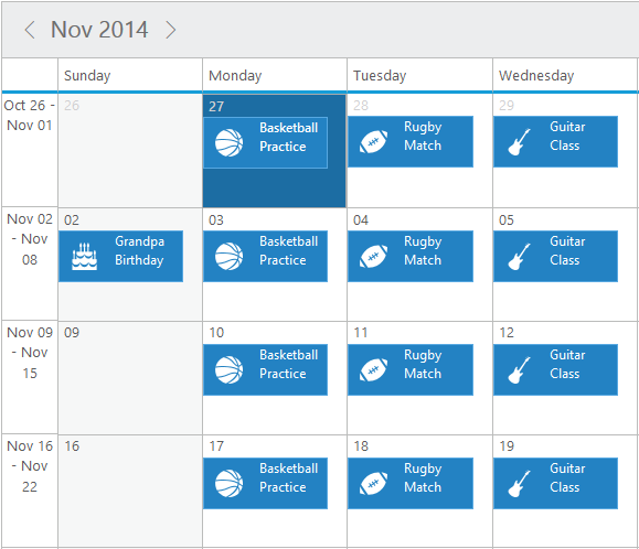 Appointment Template in jQuery Scheduler/Event calendar