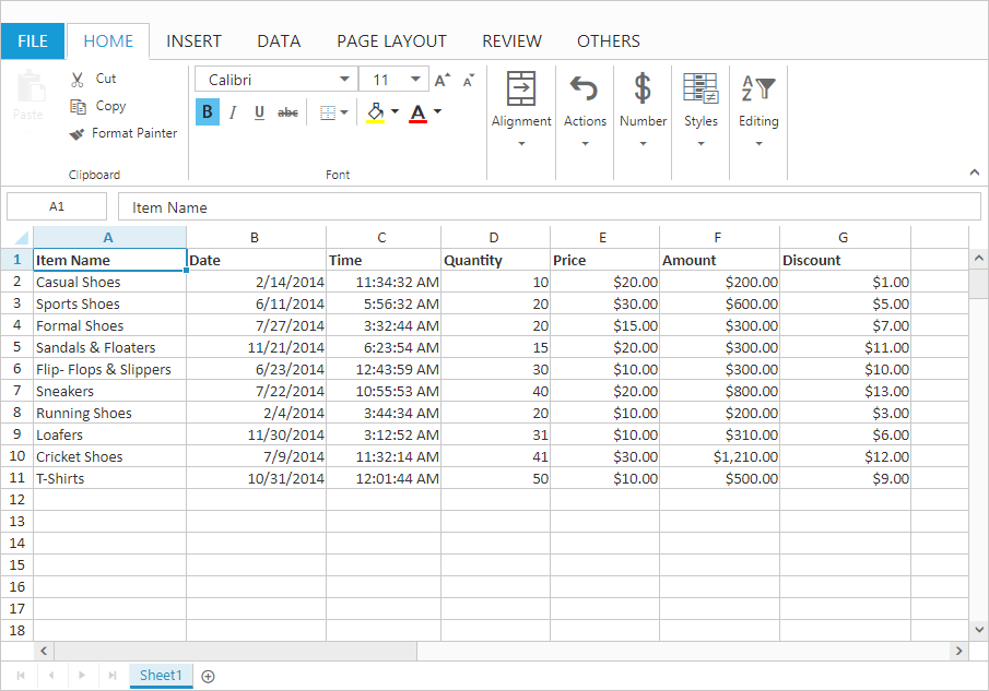 Spreadsheet is Microsoft Excel-like control