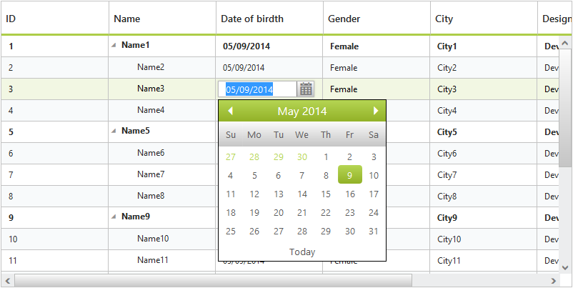 Date picker editing in PHP Tree Grid