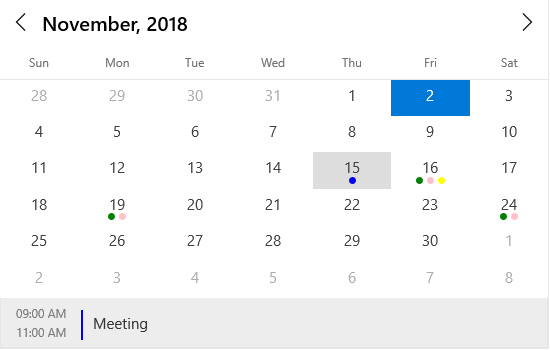 Add events in UWP calendar component