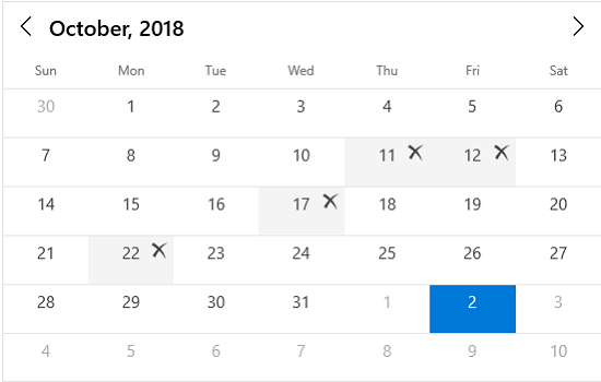 Blackout dates in UWP calendar control