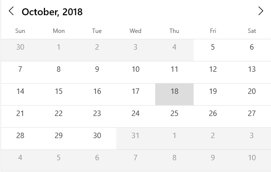 Date restriction support in UWP calendar control