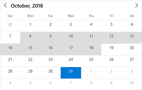 Single or multiple date selection support in UWP calendar view
