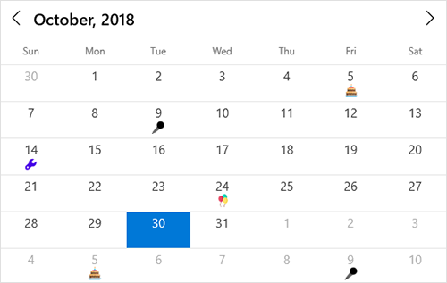 Highlighting special dates in UWP calendar