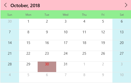 Appearance customization in UWP calendar control