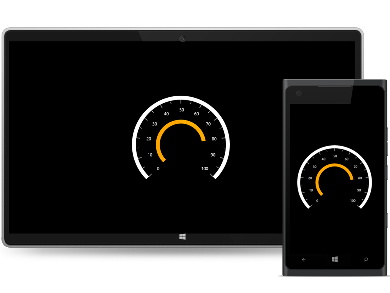 UWP circular gauge range pointer support
