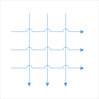 Visual indication of overlapping between two connectors using line bridging in UWP Diagram control.