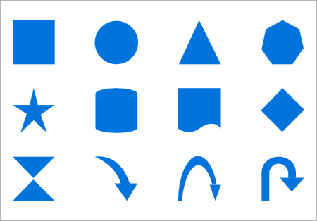 Built-in shapes for nodes in UWP Diagram control.