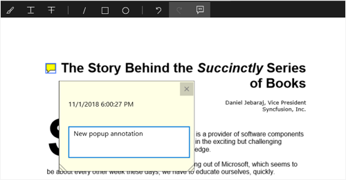 Pop-up annotation in PDF viewer