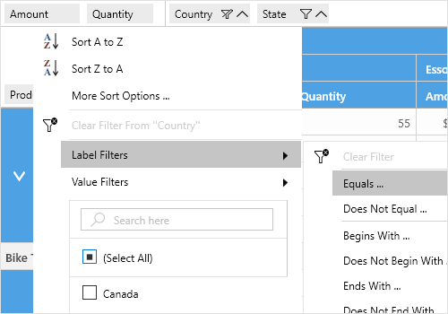 Excel-like filtering support in UWP pivot grid control