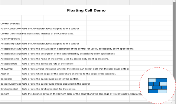 Floating cells in UWP grid control