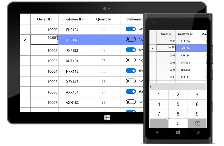 UWP DataGrid Control | High Performance DataGrid | Syncfusion