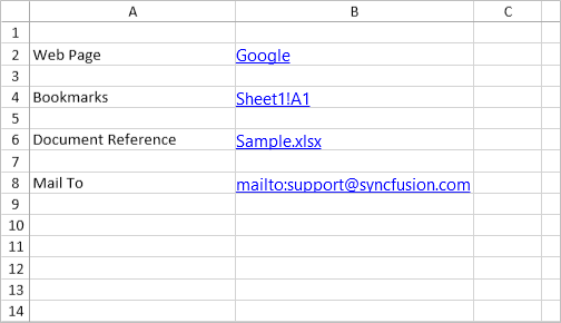 Adding hyperlinks and bookmarks to a cell like Excel in UWP Spreadsheet