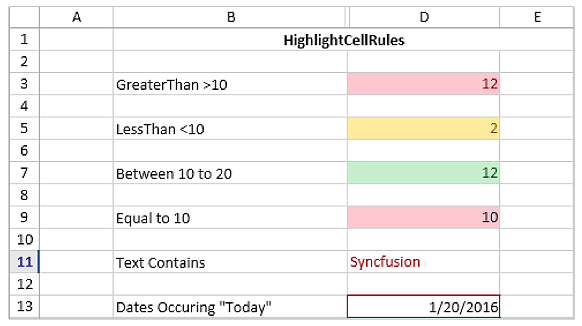 Apply Excel like conditional styling to cells in UWP Spreadsheet