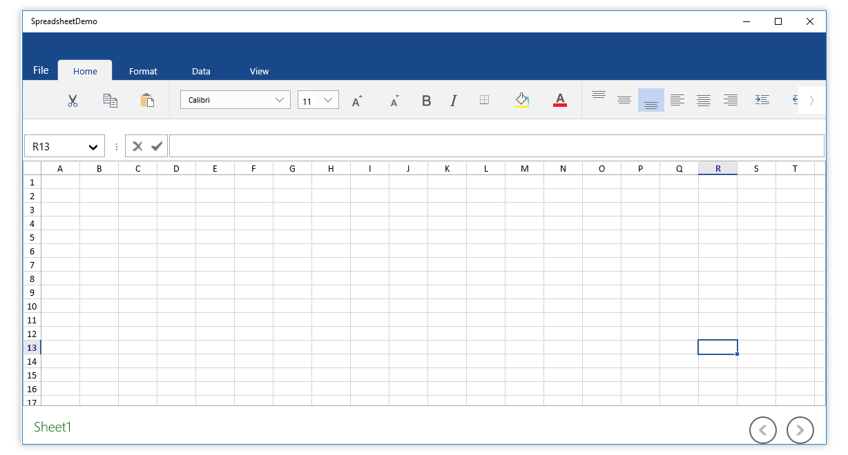 Customizable Excel like ribbon UI for UWP Spreadsheet control