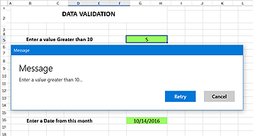 Data validation for a cell or range of cells in UWP Spreadsheet