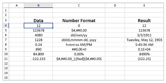 Excel like number formats in UWP Spreadsheet