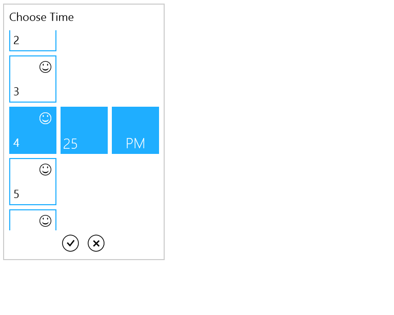 Customized cell template for time selection UI