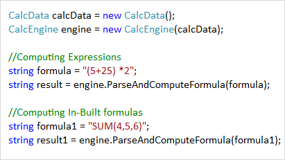 Parse and compute expressions and formulas using Calculation Engine