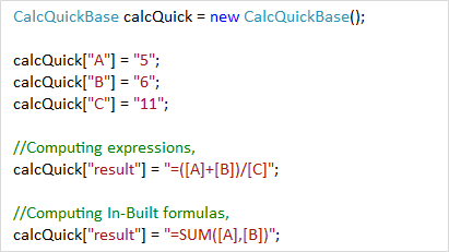 Compute expressions and formulas with values and variables using CalcQuickBase