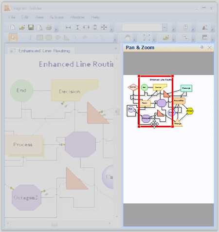 Navigate large diagram using overview control within diagram control for WinForms