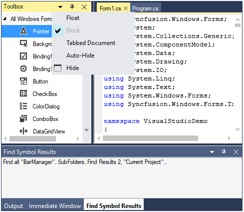 WinForms Docking Manager with context menu for close, float, pin windows
