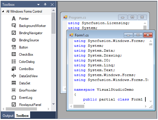 WinForms Docking Manager displays multiple documents
