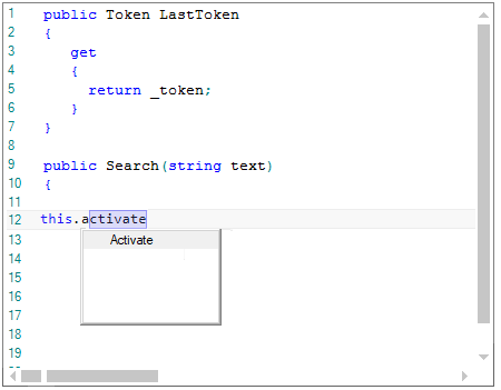 WinForms Syntax Editor displays auto complete options