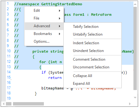 Block of codes comment out in WinForms Syntax Editor