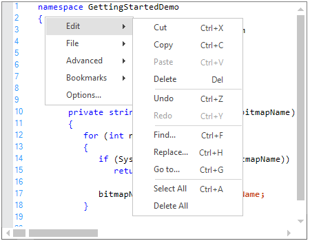 WinForms Syntax Editor displays context menu