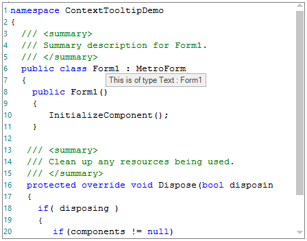 WinForms Syntax Editor displays tooltip for collapsed text block