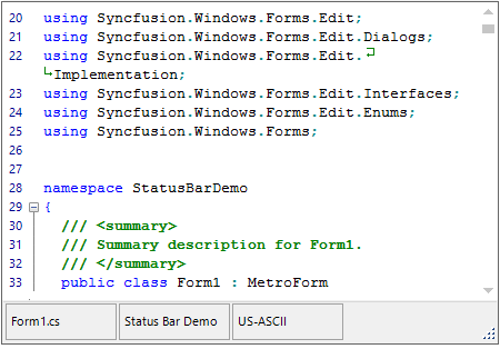 Displays the editing file information in status bar at bottom of WinForms Syntax Editor