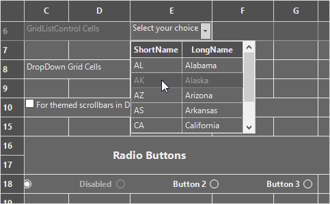 winforms grid control office2016 dark gray theme