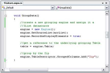 code snippet for grouping of windows forms grouping engine