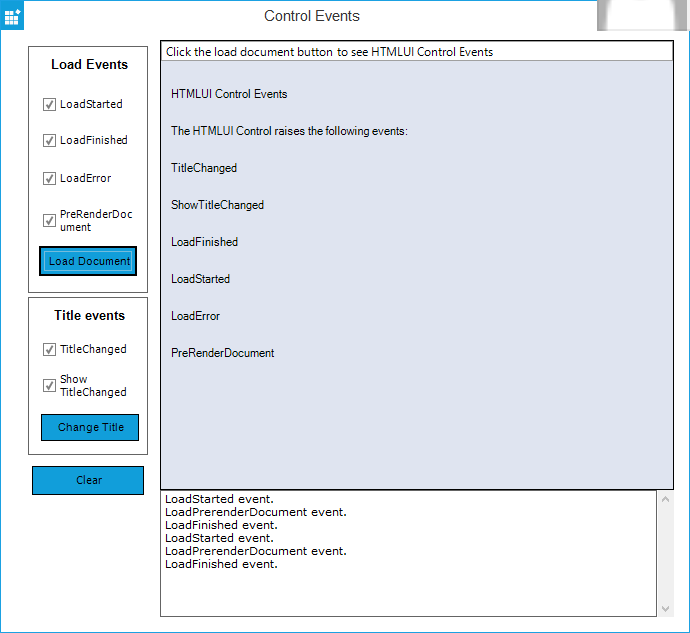 Windows Forms HTMLUI event list