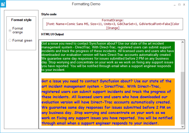 Windows Forms HTMLUI formatting