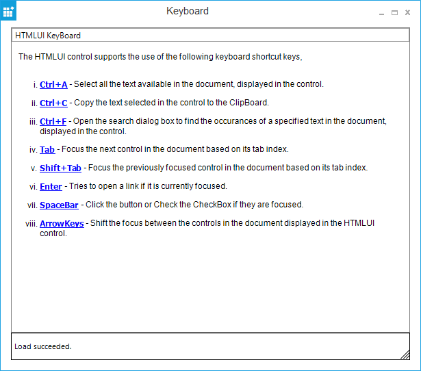 Windows Forms HTMLUI keyboard shortcuts