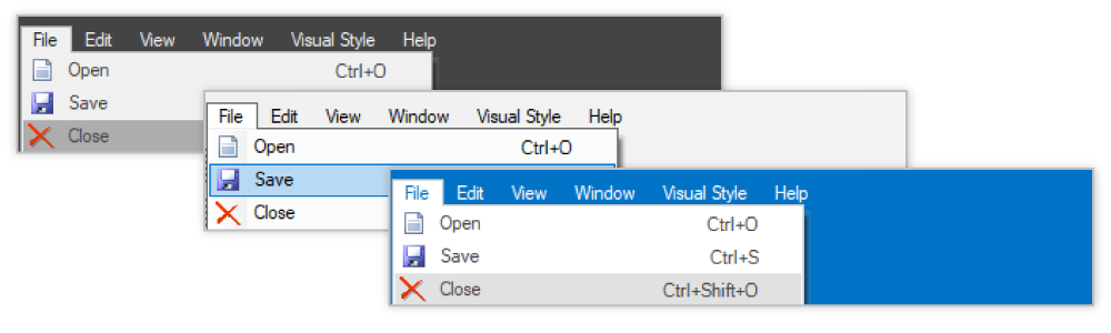 Built-in themes in Windows Forms mainframe bar manager