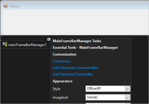 Integrated framework in Windows Forms mainframe bar manager