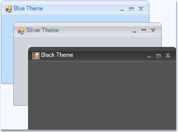 Windows Forms office 2007 black, blue and silver theme form