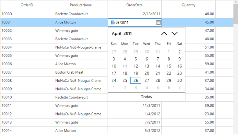 Windows Forms DataGrid DateTime Column