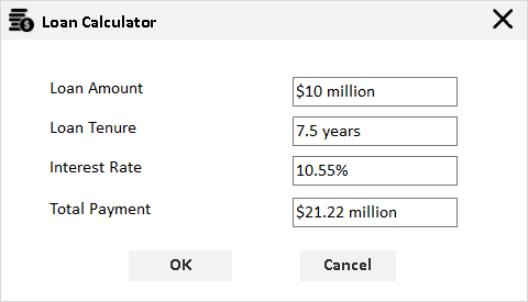 numeric textbox with custom units in loan calculator