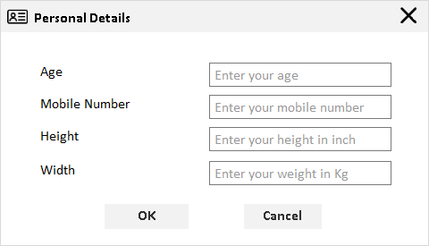 numeric textbox with watermark in personal details window