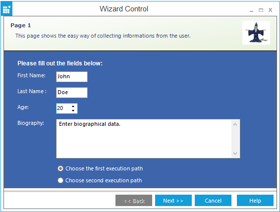 Wizard control navigation through next and previous buttons