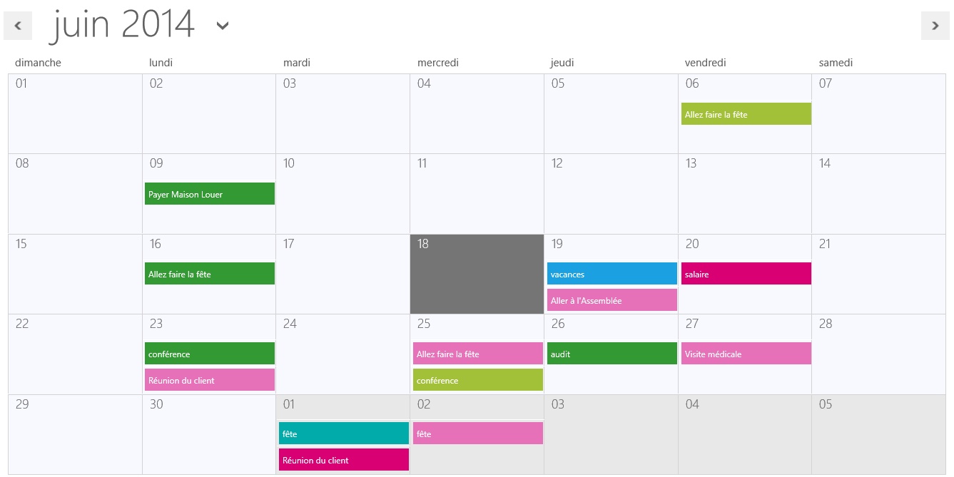 user interface weekly schedule
