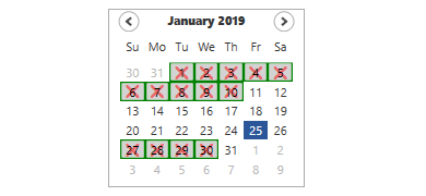 blackout dates in WPF Calendar control