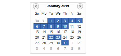 selection of dates in WPF Calendar control