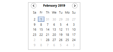 WPF Calendar control supports Right To Left feature